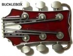 GUITAR HEADSTOCK (RED) Belt Buckle + display stand